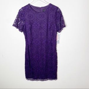 Laundry Shelli Segal Purple Lace Mini Dress SZ 10
